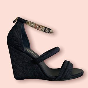 Chanel Wedges with Metal Ankle Strap (size:40)